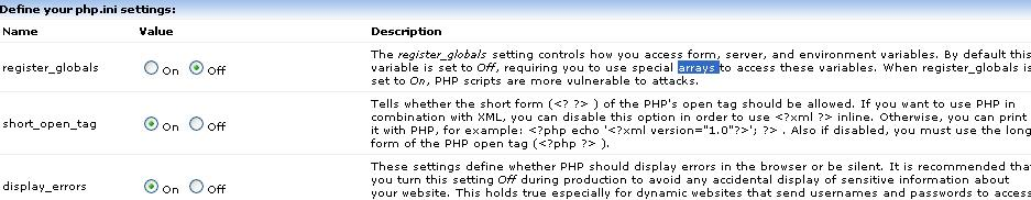 Preview of the New PHP Settings Section