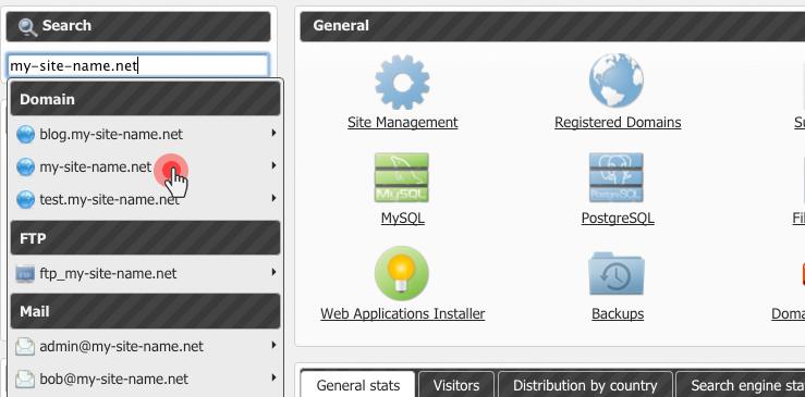 Lonex Control Panel - live search per domain